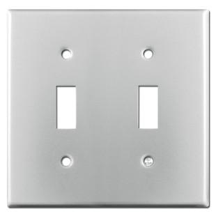 2 Toggle Switch Plate - Brushed Aluminum
