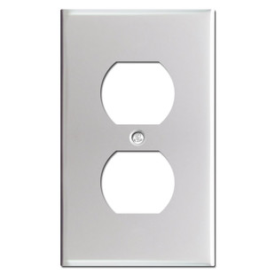 1 Duplex Outlet Switch Plate - Brushed Aluminum