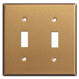 Two Toggle Switch Plates - Satin Bronze