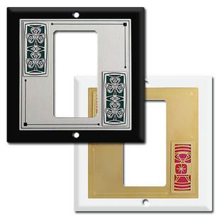 Decorative 2 Gang Centered Rocker Switch Plate