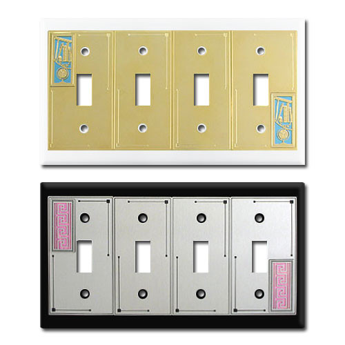 Decorative Four Toggle Light Switch Plates in Colorful Designs