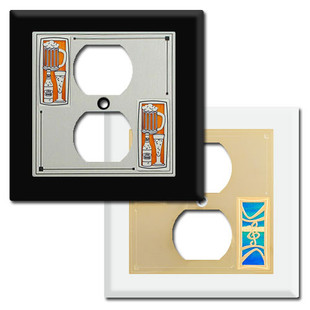 2-Gang Centered Duplex Outlet Covers with Decorative Designs