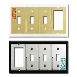 Decorative Switch Plate with 3 Toggle and 1 Rocker Openings