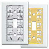 White Decorative Switch Plates with Cats