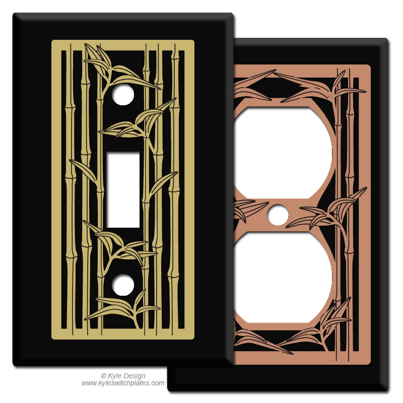 Metal Light Plates Pleasing Bamboo Metal Light Switch Plate Covers In Black  Kyle Design Inspiration