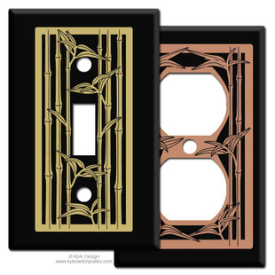 Black Switch Plates with Bamboo Design