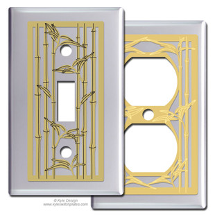 Chrome Switch Plates with Bamboo Design