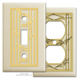 Ivory Switch Plates with Bamboo Design