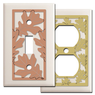 Almond Switch Plates with Oak Leaves Design