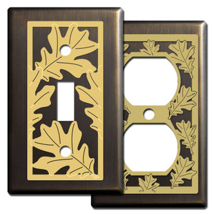 Warm Bronze Autumn Switch Plates with Oak Leaves