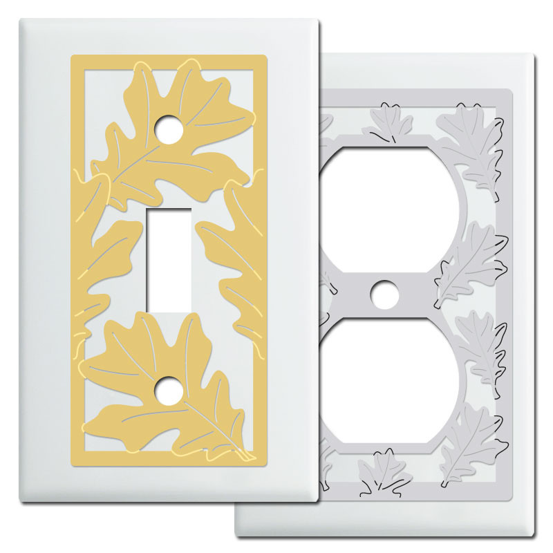 Oak Leaf Light Switch Covers In White Kyle Design