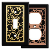 Black Switch Plates with Abstract Circle Design