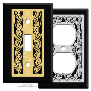 Iris Design Switch Plates - Black