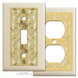 Ivory Decorative Switch Plates with Iris