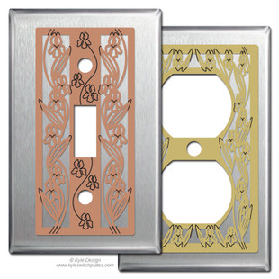 Iris Flower Decorative Switch Plates