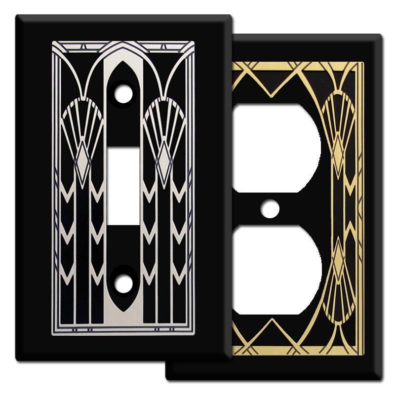 Art Deco Fans Switch Plates In Black Kyle Design
