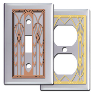 Chrome Art Deco Style Switch Plates & Outlet Covers