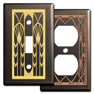 Bronze Art Deco Style Switch Plates & Outlet Covers