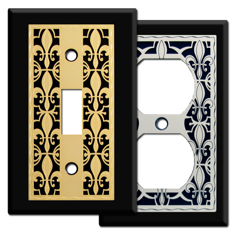 Fleur De Lis Light Switchplate Covers In Black Kyle Design