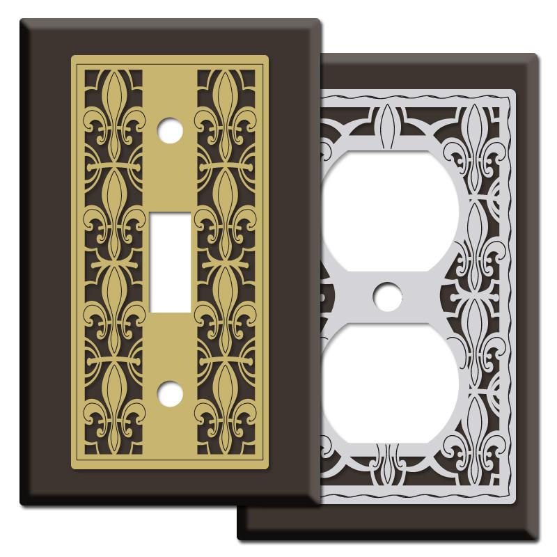 Fleur De Lys Switch Plates In Brown Kyle Design