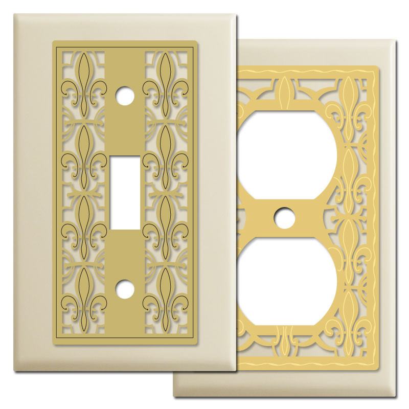Fleur De Lis French Pattern Light Switch Covers In Ivory