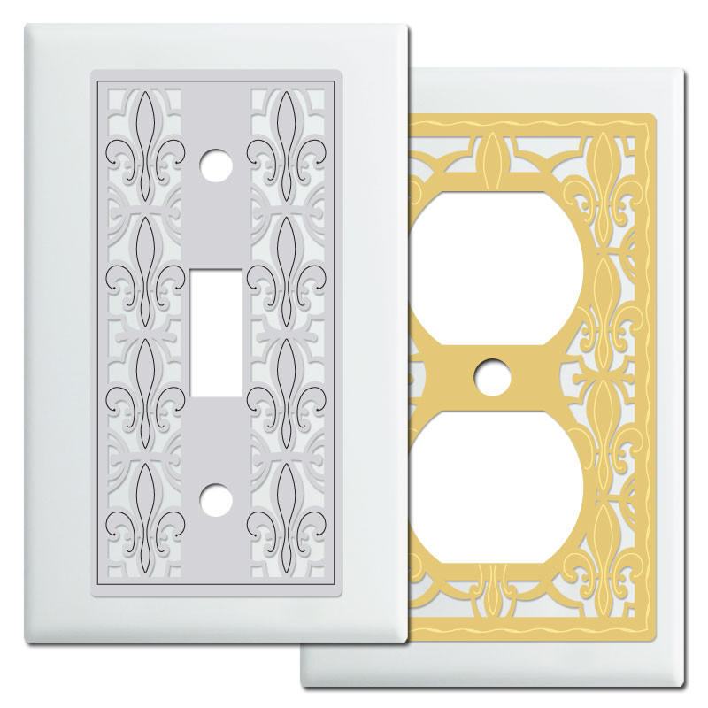 fleur de lis french light switch wall plates in white