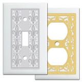 Classy White Fleur de Lis Switch Plates