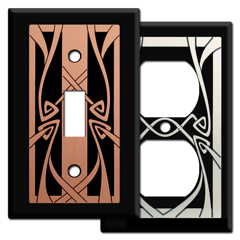 Art nouveau wall plate covers in black kyle design - Art deco switch plate covers ...