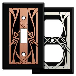Art Nouveau Switch Plates in Black