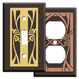 Decorative Brown Art Nouveau Switch Plate Covers