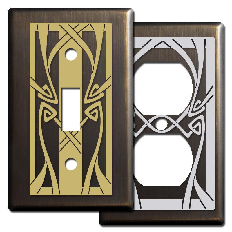 Art Nouveau Light Switch Covers In Bronze Kyle Design