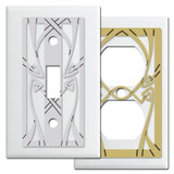 White Art Nouveau Switch Plate Covers