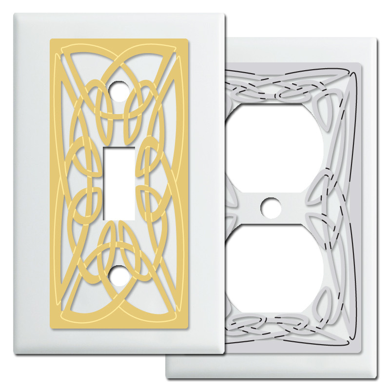 Celtic Knot Design Wall Switch Plates in White - Kyle Design