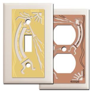Kokopelli Southwest Switch Plates in Light Almond