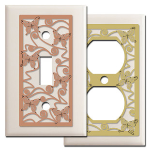 Butterfly Light Switch Plates in Light Almond