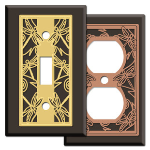 Brown Switch Plates with Dragonflies