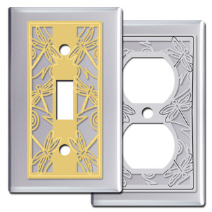 Chrome Dragonfly Switch Plate Covers