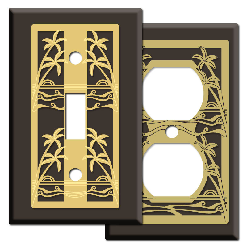 Island palms light switch covers in brown kyle design Light switch plates decorative