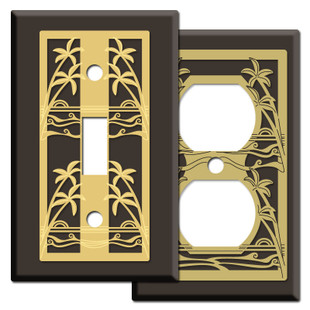 Island Palm Trees Light Switch Covers in Brown