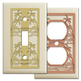 Ivory Switch Plates with Swaying Palm Trees