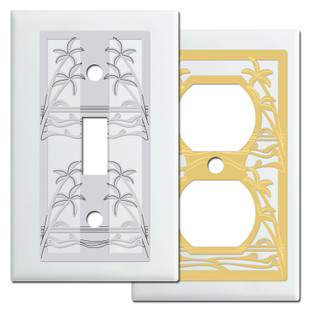 Exotic White Hawaii Theme Switch Plates with Palm Trees