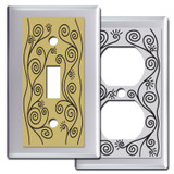 Chrome Swirly Vines Switch Plates