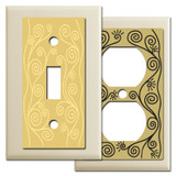 Ivory Switch Plates with Swirl Vine Design