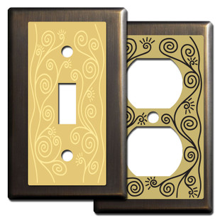 Bronze Swirly Vine Switch Plates