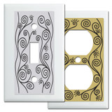 White Vine Swirls Switch Plates