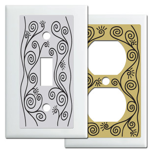 White Vine Swirls Switch Plates