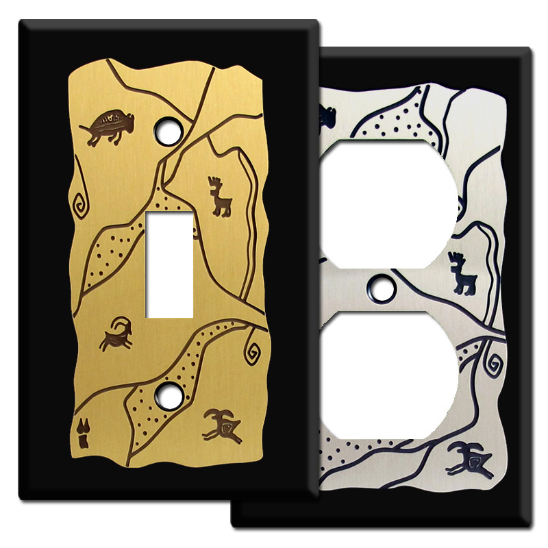 Southwest Rock Carving Light Switchplate Covers In Black