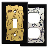 Southwest Rock Art Switch Plates - Black