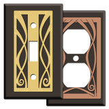 Ribbon Swirl Brown Switch Plate Covers