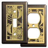 Celestial Light Switch Plates in Bronze